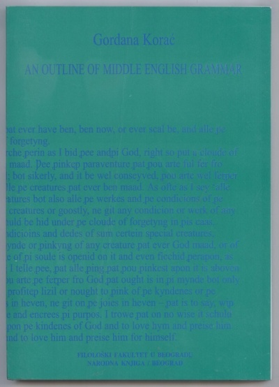 AN OUTLINE OF MIDDLE ENGLISH GRAMMAR