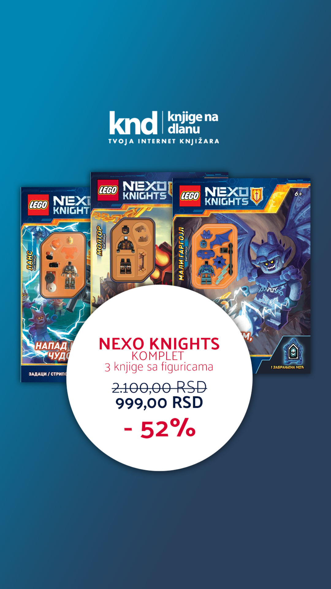 LEGO NEXO KNIGHTS KOMPLET – 3 KNJIGE SA FIGURICAMA ZA 999